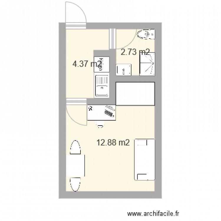 t1 20m2 plan 3 pi ces 20 m2 dessin par cesca2. Black Bedroom Furniture Sets. Home Design Ideas