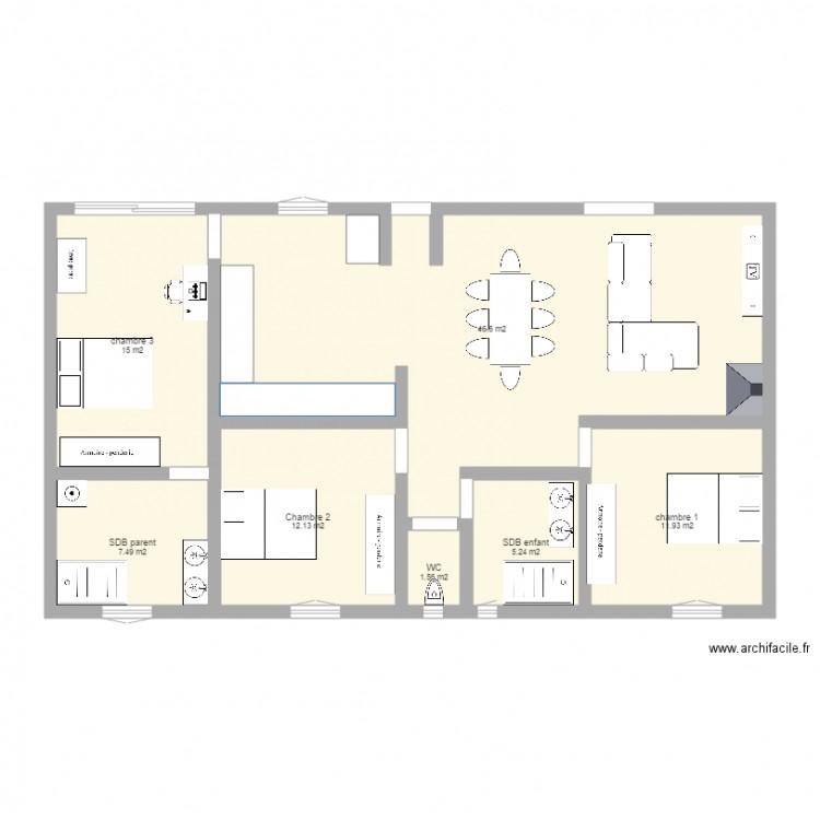 maison id e guillaume plan 7 pi ces 100 m2 dessin par. Black Bedroom Furniture Sets. Home Design Ideas