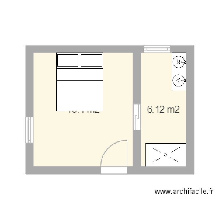 Plan chambre et salle de bains plan 2 pi ces 20 m2 for Plan chambre salle de bain dressing