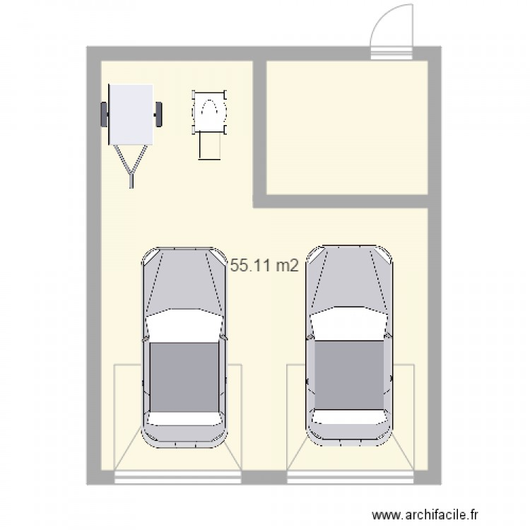 garage avec atelier plan 1 pi ce 55 m2 dessin par dadjen33. Black Bedroom Furniture Sets. Home Design Ideas