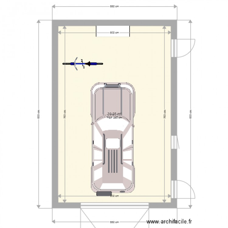 Garage moins 40m2 plan 1 pi ce 39 m2 dessin par airbast for Garage occasion 89