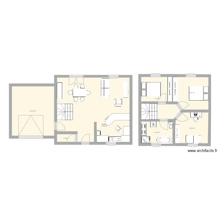 maison 1 claude rizzon plan 7 pi ces 102 m2 dessin par keelly67. Black Bedroom Furniture Sets. Home Design Ideas