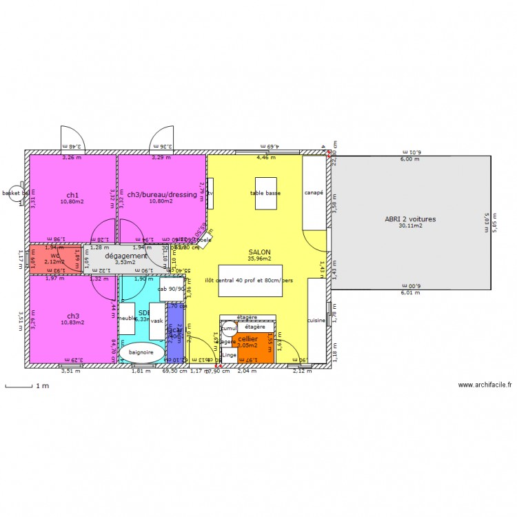 plan maison 85m2