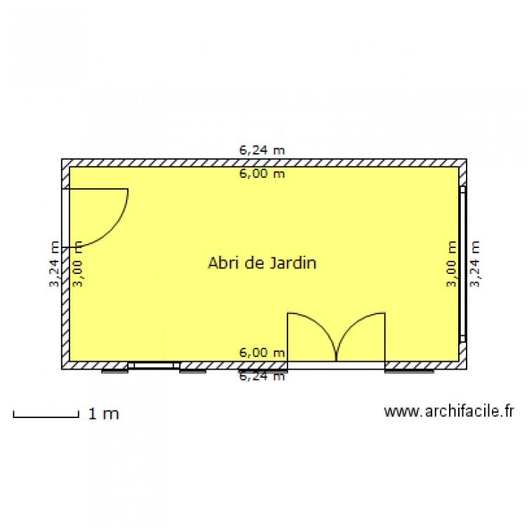 Abri de jardin dessus plan 1 pi ce 18 m2 dessin par grante - Abri jardin grande taille ...