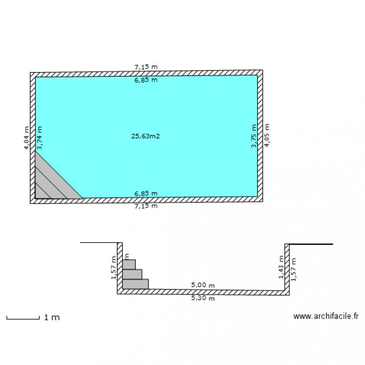 Plan en coupe piscine plan 1 pi ce 26 m2 dessin par mymyl for Piscine 4 par 8