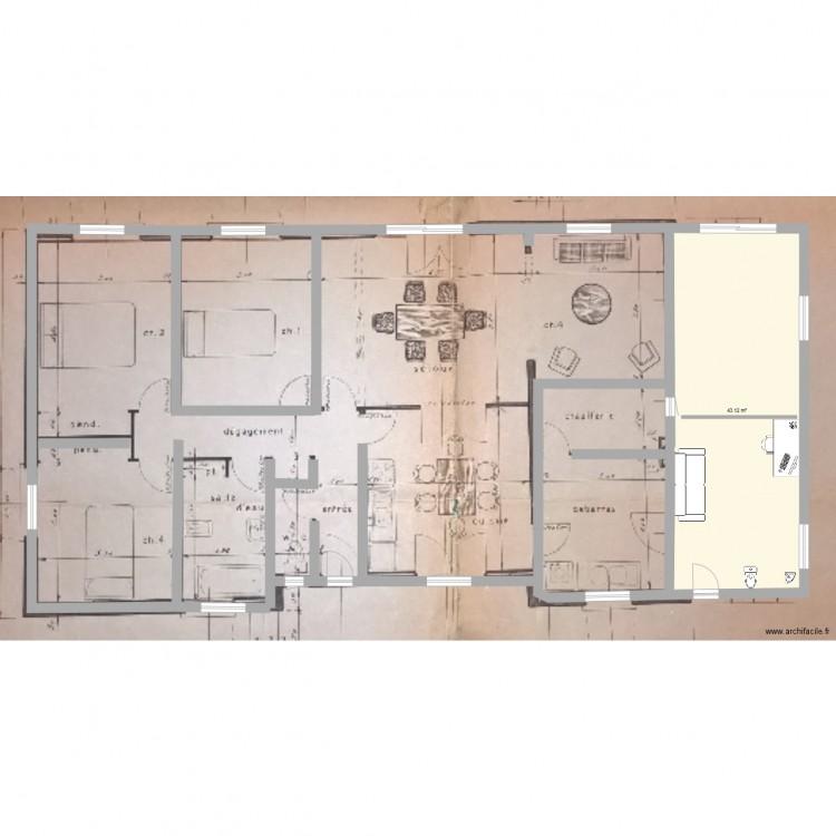Agrandissement 1 plan 1 pi ce 43 m2 dessin par for Agrandissement maison rectangulaire