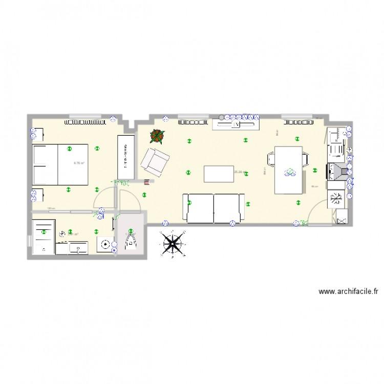 appartement t2 chatou plan 4 pi ces 40 m2 dessin par. Black Bedroom Furniture Sets. Home Design Ideas