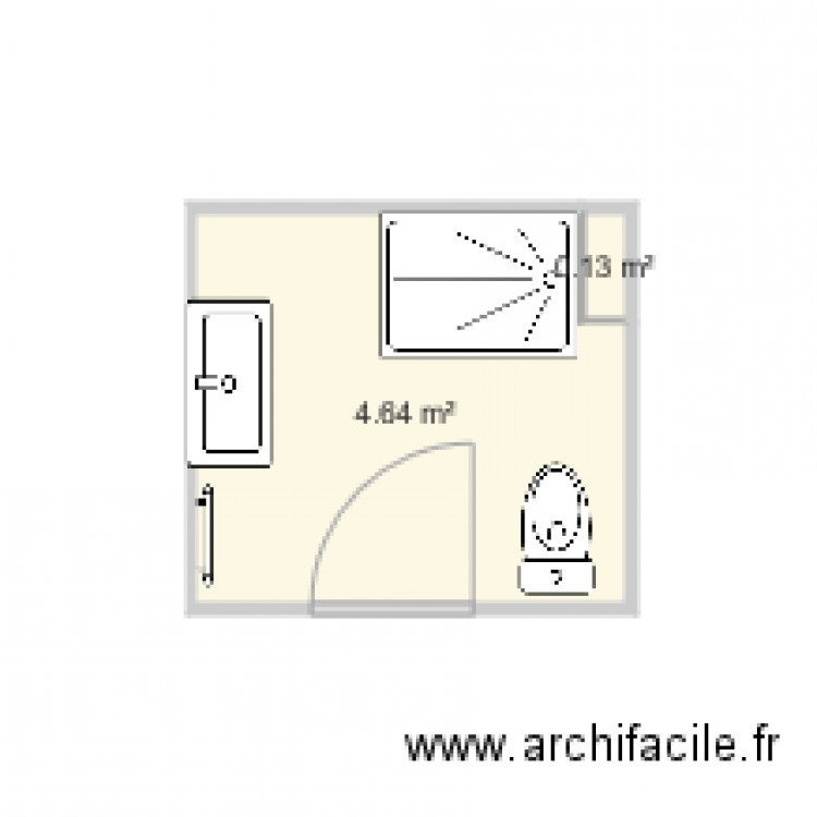 salle de bain 2 plan 2 pi ces 5 m2 dessin par sandrinelanglois. Black Bedroom Furniture Sets. Home Design Ideas