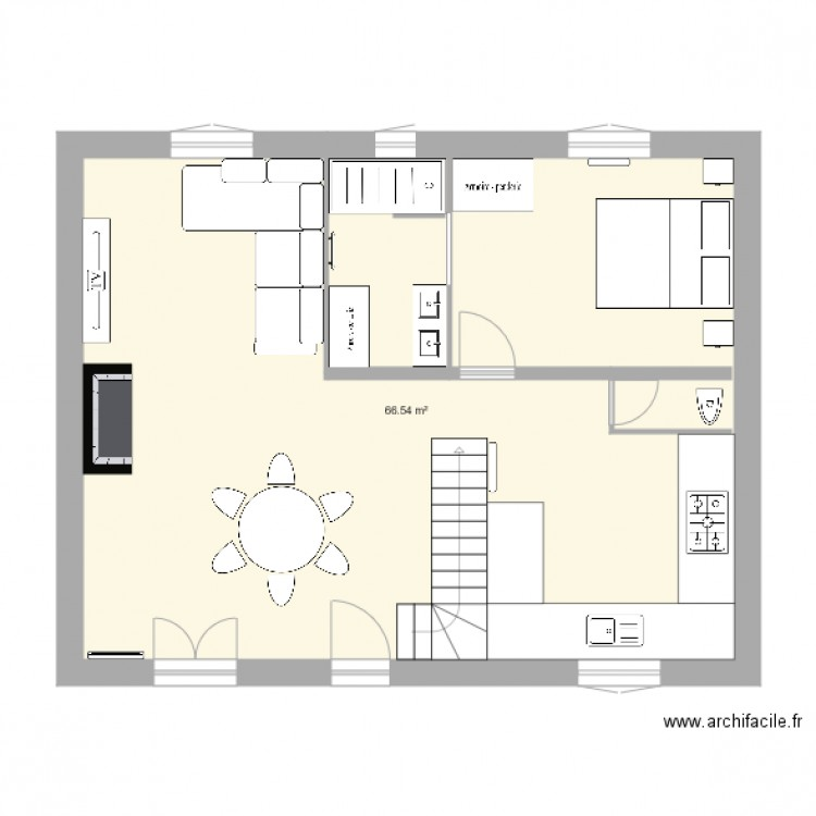 Plan maison betton plan 1 pi ce 67 m2 dessin par lcadro for Plan betton