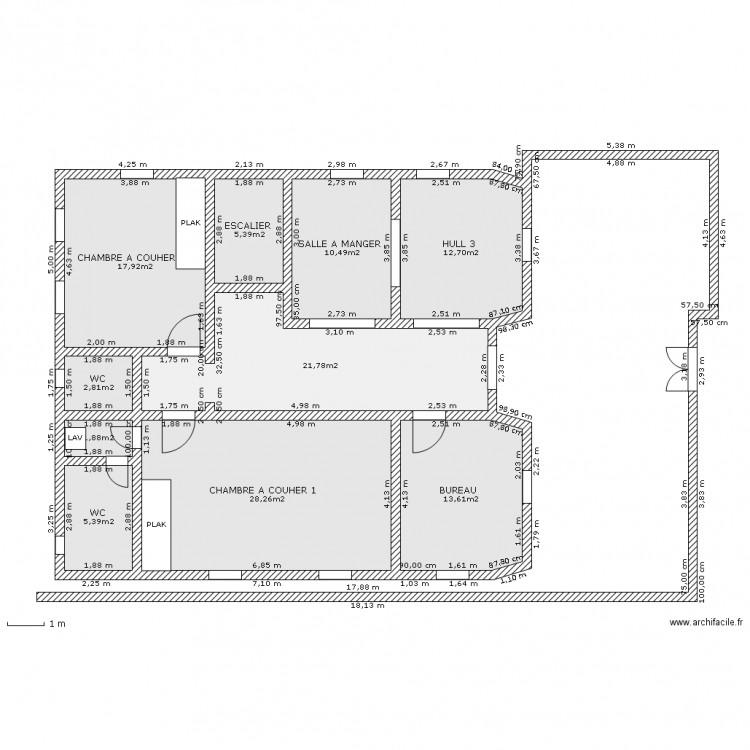 Etage plan 10 pi ces 120 m2 dessin par boulemsackboulemsack - Plan appartement 120 m2 ...