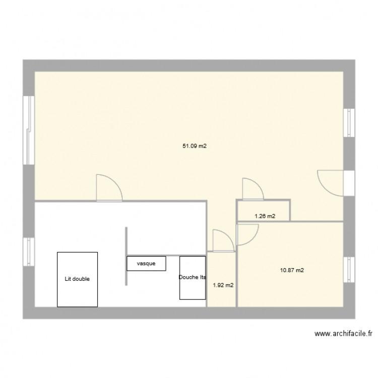 Agrandissement maison plan 4 pi ces 65 m2 dessin par ma6m0 for Agrandissement maison plan