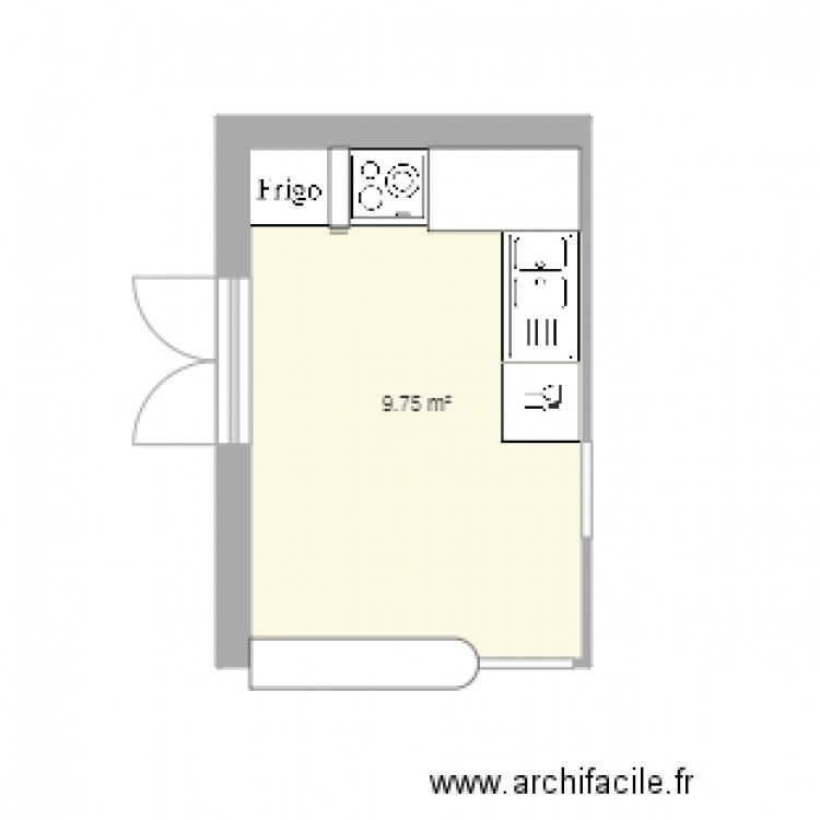 cuisine plan 1 pi ce 10 m2 dessin par justy35. Black Bedroom Furniture Sets. Home Design Ideas