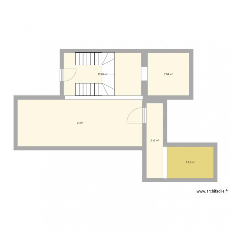 Maison plan 5 pi ces 56 m2 dessin par joricardo for Plan de maison 5 pieces