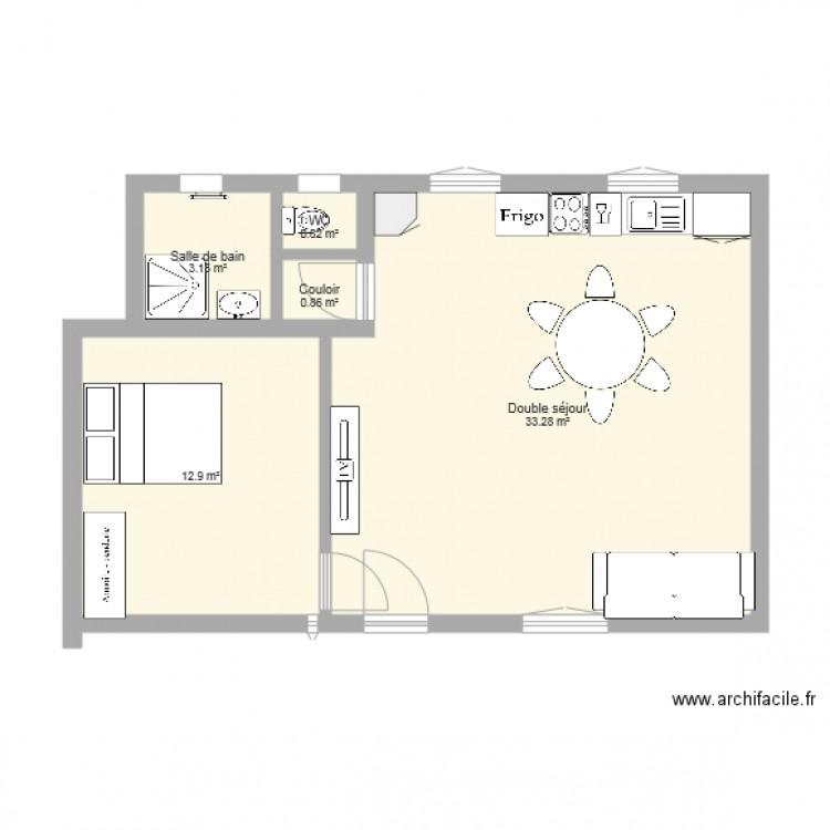 Plan maison rez de chauss e plan 5 pi ces 51 m2 dessin par evegrellec - Plan de maison rez de chaussee ...