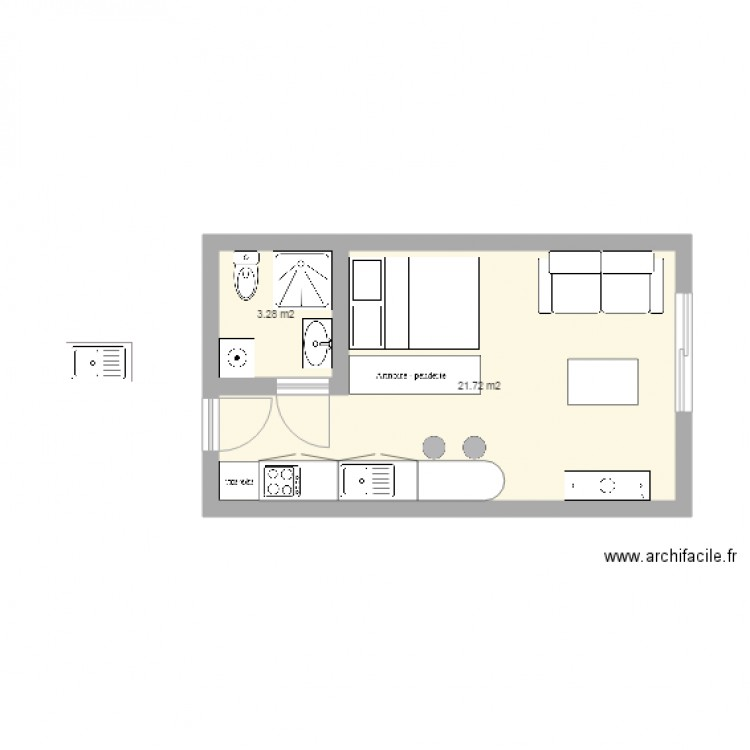 25m2 plan 2 pi ces 25 m2 dessin par ced65370. Black Bedroom Furniture Sets. Home Design Ideas