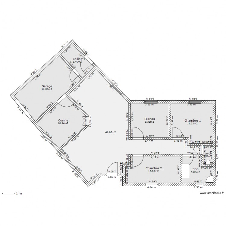 Plan de maison en v plan maison en v avec 3 chambres for Plan maison moderne 110m2