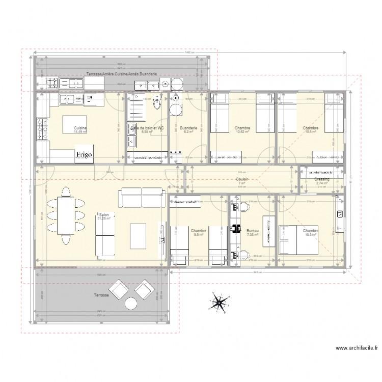 f5 cuisine ferm e toit 3 pans buanderie int plan 13 pi ces 146 m2 dessin par david988. Black Bedroom Furniture Sets. Home Design Ideas