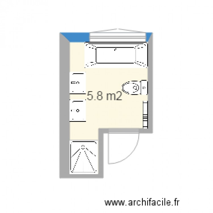 salle de bain plan 1 pi ce 6 m2 dessin par jm grandjean. Black Bedroom Furniture Sets. Home Design Ideas