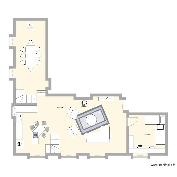 Rdc plan 2 pi ces 89 m2 dessin par pancreatec - Plan de travail pour bureau ...