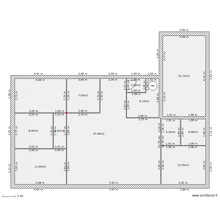 plain pied 1 plan 11 pi ces 135 m2 dessin par maxbonnot59. Black Bedroom Furniture Sets. Home Design Ideas