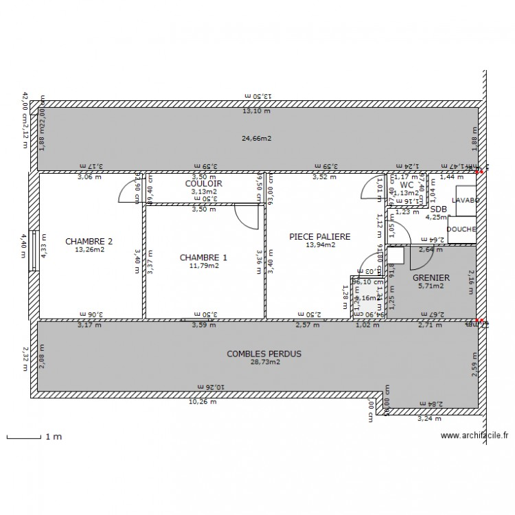 Amenagement combles plan 10 pi ces 108 m2 dessin par micoum for Plan de combles