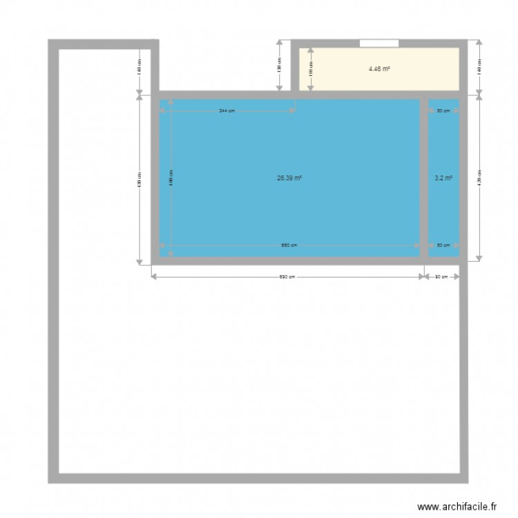Piscine 6x4 terrasse plan 3 pi ces 34 m2 dessin par for Piscine enterree 6x4