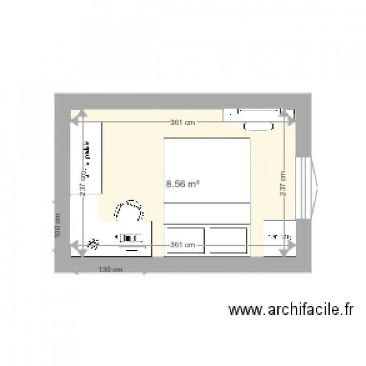 Chambre 3 caroline plan 1 pi ce 9 m2 dessin par jcval86 for Chambre one piece