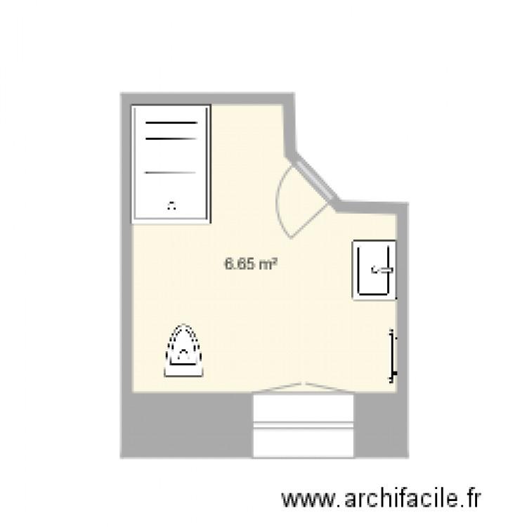 salle de bains a plan 1 pi ce 7 m2 dessin par philippe grosperrin. Black Bedroom Furniture Sets. Home Design Ideas