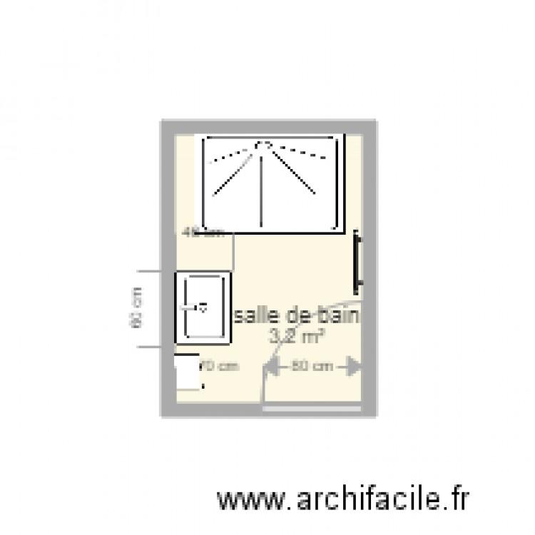 petite salle de bain - Plan 1 pièce 3 m2 dessiné par Lorenzor
