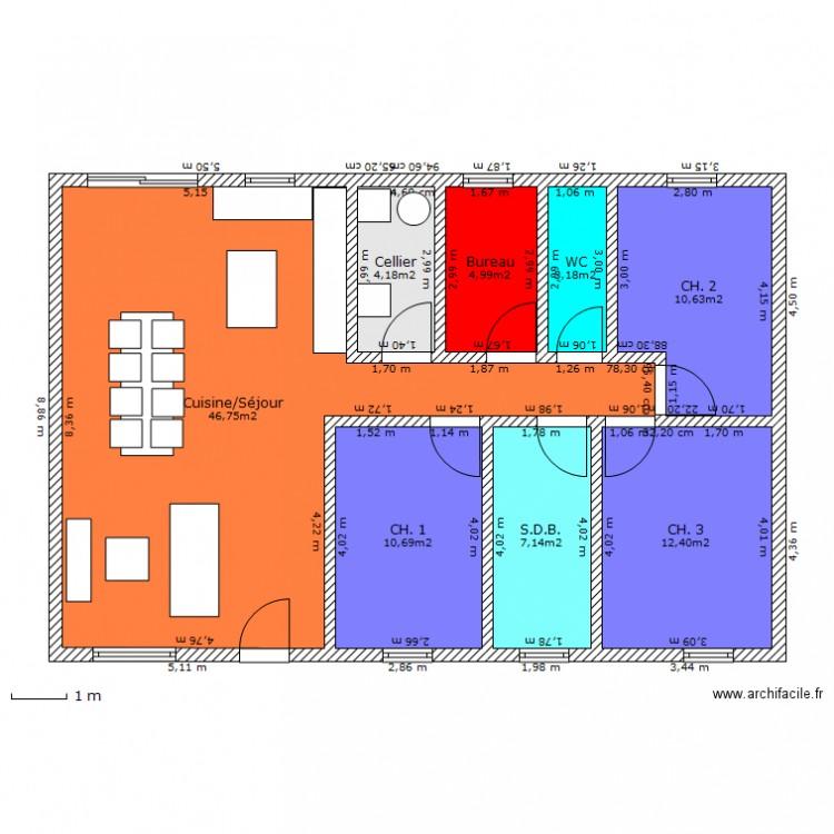Maison 3 chambres 1 bureau plan 8 pi ces 100 m2 dessin for Plan maison 3 chambres 1 bureau