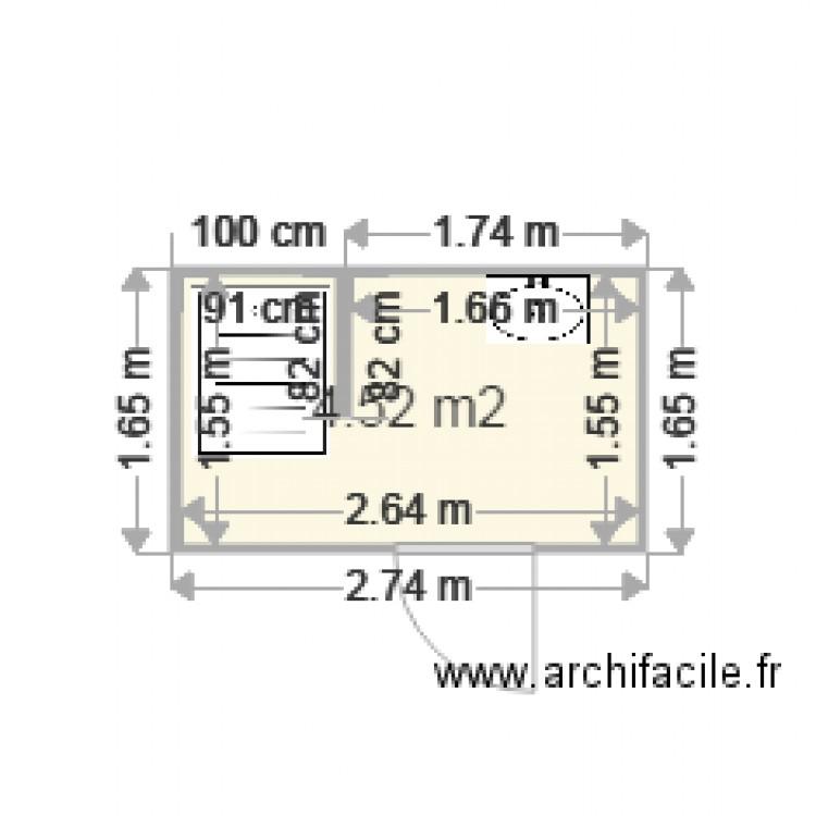 Salle de bain plan 1 pi ce 5 m2 dessin par lwartelle for Salle de bain 7 5 m2