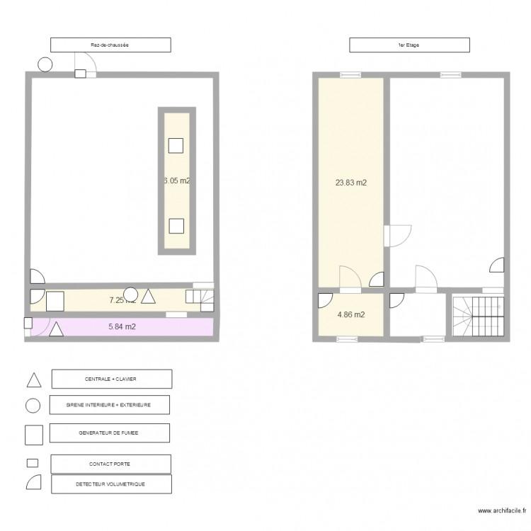 tabac de lhorloge alarme plan 5 pi ces 48 m2 dessin par fafa69170. Black Bedroom Furniture Sets. Home Design Ideas