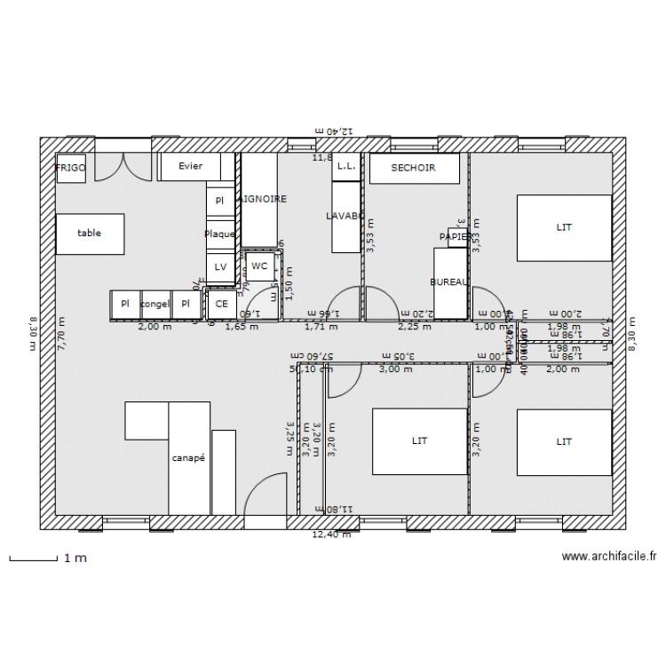 Maison mikit plan 2 pi ces 93 m2 dessin par kekegreg for Taille moyenne maison