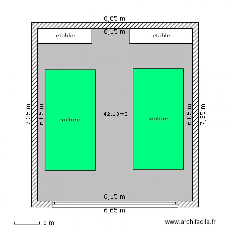 Garage double plan 1 pi ce 42 m2 dessin par baroucge24 for Plan d un garage double