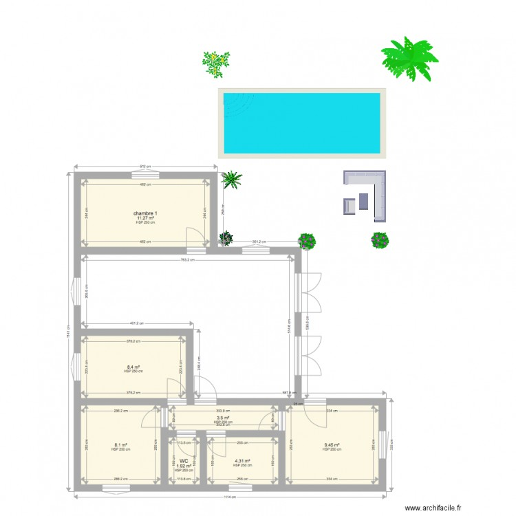 Plan Maison Avec Piscine Roger Plan 7 Pieces 47 M2 Dessine Par Karukera