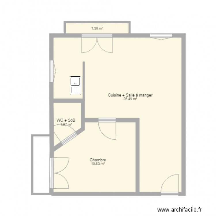 plan appartement 2 chambres 40m2