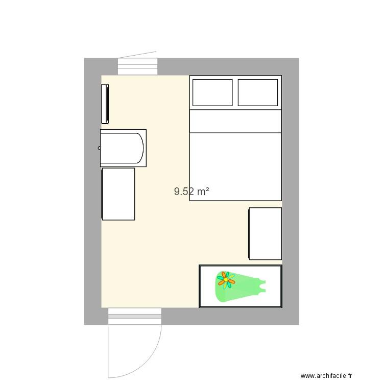 chambre eliott plan 1 pi ce 10 m2 dessin par panchopopoulos. Black Bedroom Furniture Sets. Home Design Ideas