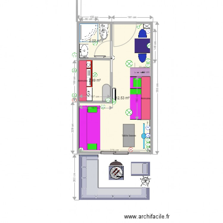 Mini appartement mer 10 complet plan 3 pi ces 17 m2 for Mini appartement