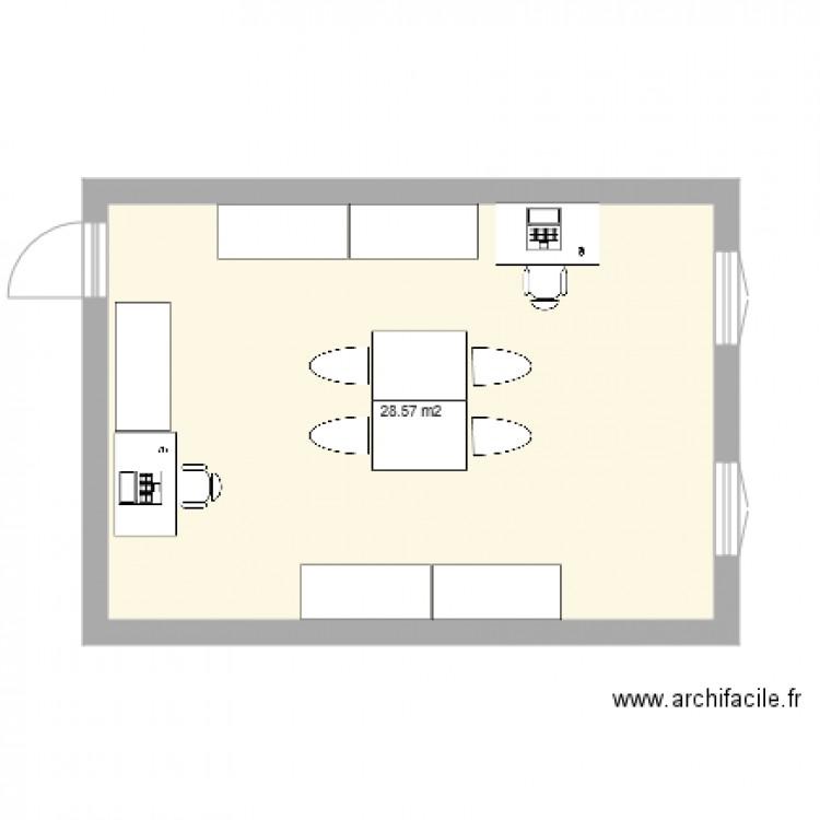 Bureau marianne plan 1 pi ce 29 m2 dessin par celina20 for Nombre de m2 par personne bureau