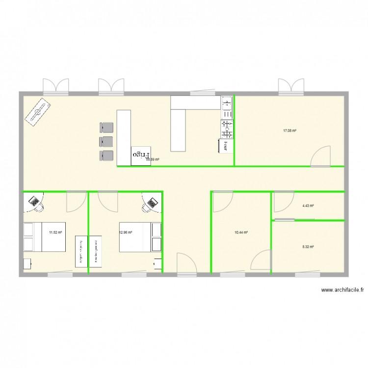 amenagement 2 plan 7 pi ces 123 m2 dessin par dylandesvarieux. Black Bedroom Furniture Sets. Home Design Ideas