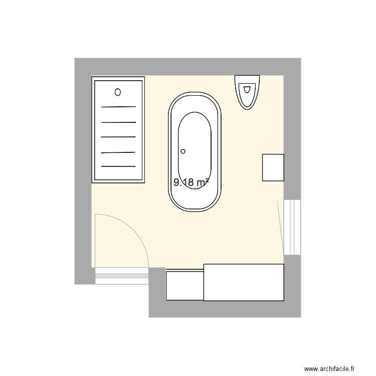 Salle De Bain Baignoire Centrale Plan 1 Piece 9 M2 Dessine