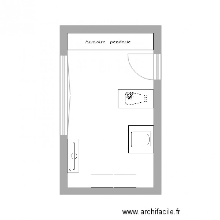 Chambre 1 plan 1 pi ce 16 m2 dessin par mathieug46 for Chambre one piece