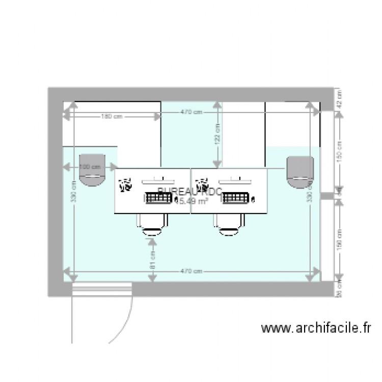 Bureau rdc avec 2 bureaux 140x80 et 2 bureaux 180x120 for Nombre de m2 par personne bureau