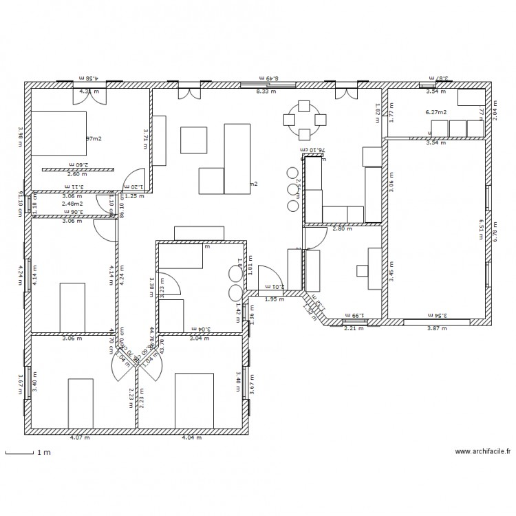 plan maison 92 m2