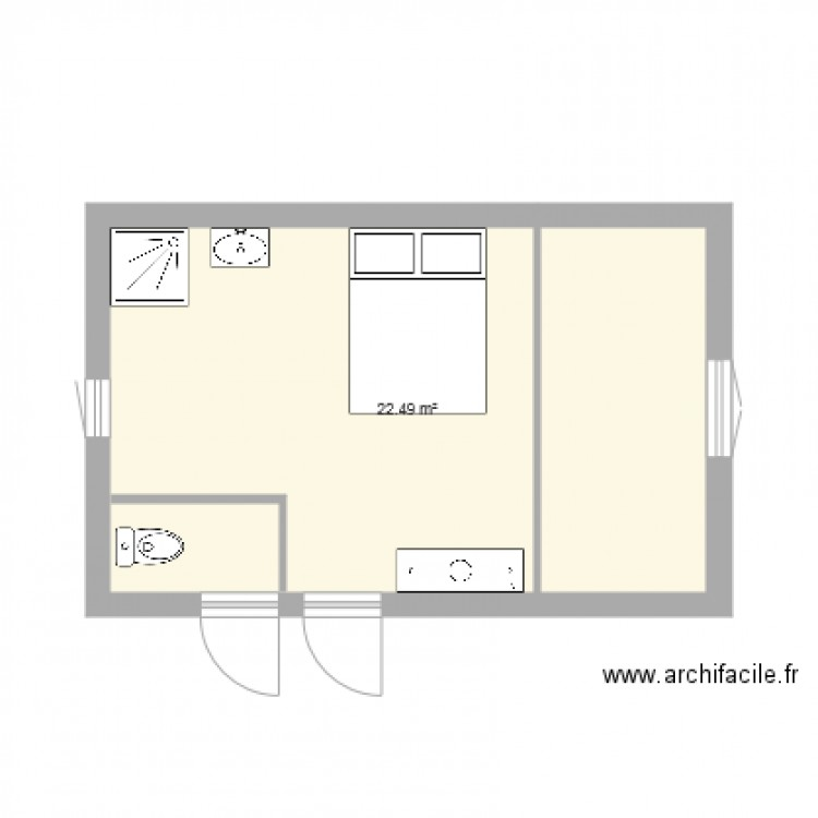 suite parentale plan 1 pi ce 22 m2 dessin par mehdibk1. Black Bedroom Furniture Sets. Home Design Ideas