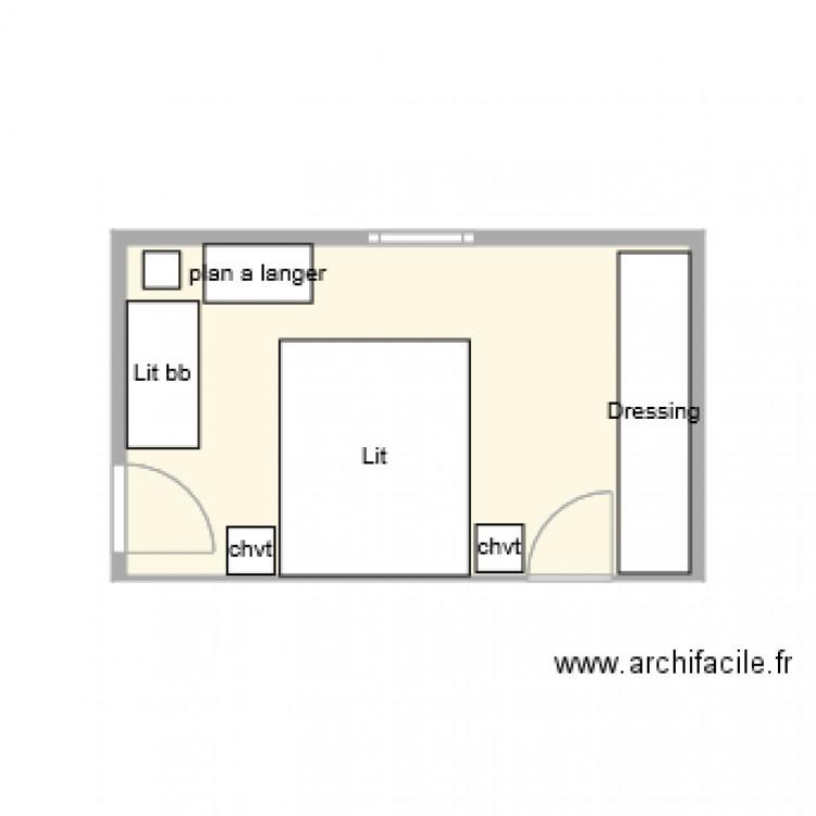 Latest chambre parentale plan de pice et m with plan for Suite parentale traversante