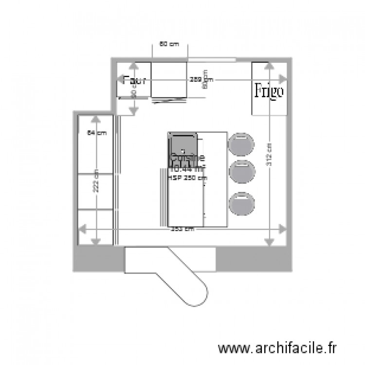 cuisine plan 1 pi ce 10 m2 dessin par joris85. Black Bedroom Furniture Sets. Home Design Ideas
