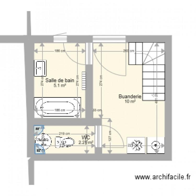 Plan Buanderie plan sdb buanderie 3 - plan 3 pièces 17 m2 dessiné par alexthiry