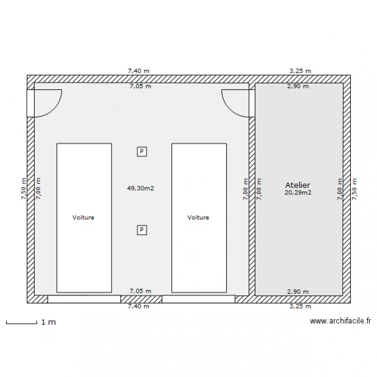 garage 2 voitures plan 2 pi ces 70 m2 dessin par nono16. Black Bedroom Furniture Sets. Home Design Ideas