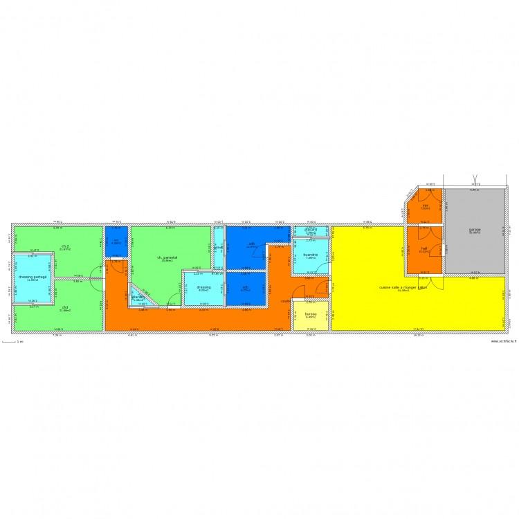maison en longueur plan 18 pi ces 316 m2 dessin par loulousmiley. Black Bedroom Furniture Sets. Home Design Ideas
